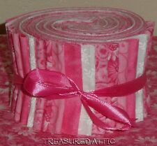 "Jelly Roll Strips Quilting Fabric 20~2.5"" Soft Pink Floral Marble White"