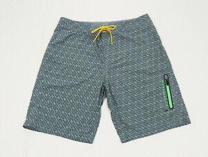 Nike LiveStrong Gray Striped Tech Surf Swim Board Shorts Mens 36