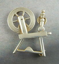 1973 Ola Gorie Silver Spinning Wheel Brooch Pin Vintage Scottish