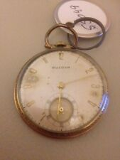 Bulova 17 Jewel Pocket Watch 10K Rolled Gold Plate, Swiss Made