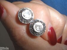 STUNNING CLEAN DIAMOND ANTIQUE 1 CT OLD MINE ROSE CUT STUDS 14K EARRINGS