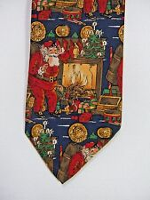Robert Talbott for Oak Hall Men's Tie Necktie Fireplace Santa Clause  #J