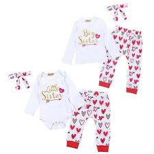 Baby Girls Sister Matching Big/Little Love Romper Pants Valentine's Gift Outfits