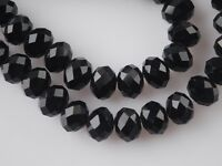 10pcs 14mm Rondelle Faceted Loose Crystal Glass Beads Jewelry Finding Black