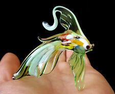 "MURANO ITALY STYLE 2.6"" green ART GLASS aquarium figurine GOLDFISH FISH ornament"
