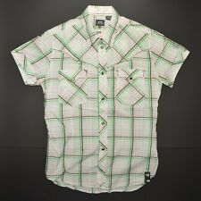 G-Star Raw Pearl Snap Button Up Mens Large Green Plaid Short Sleeve Exceptional