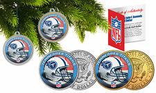TENNESSEE TITANS Colorized JFK Half Dollar US 2-Coin Set NFL Christmas Ornaments