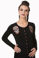 Women's Black Sugar Skull Gothic Punk Emo Rockabilly Cardigan By Banned Apparel