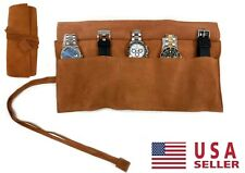 Travel 5 Watch Roll Case Organizer For Apple Rolex Omega w Genuine Brown Leather