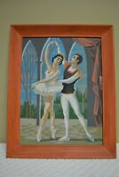 Unusual Vintage Paint By Number BALLET DANCERS Ballerina Painting MCM Framed