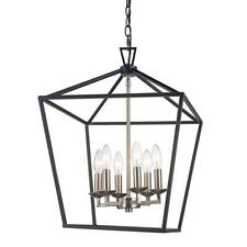 Bel Air Lighting Lacey 6-Light Black and Brushed Nickel Pendant