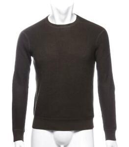 RALPH LAUREN Mens Dark Waffle Knit Cotton Cashmere Wool Crew-Neck Sweater S