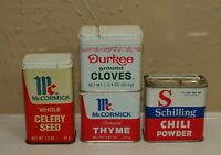 Vtg Lot Metal SPICE TINS McCormick Durkee Schilling * Chili Celery Thyme Cloves