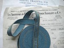 Antique/Vintage French Metallic Blue/Gold Ribbon Trim Tape