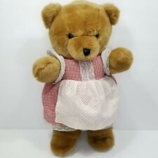 "Brown Teddy Bear Dress Apron Vintage Stuffed Animal Plush Sam Woo Korea Soft 16"""