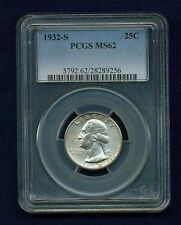 U.S. 1932-S WASHINGTON QUARTER / 25 CENTS, UNCIRCULATED CERTIFIED PCGS-MS62