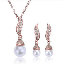 Wedding Bridal Jewellery Set Rose Gold & White Pearls Necklace & Earrings S213G