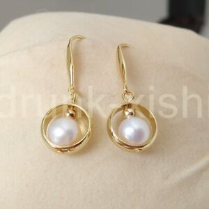 Gorgeous A Pair Aaa South Sea Round White Pearl Dangle Earring 14k Yellow Gold P