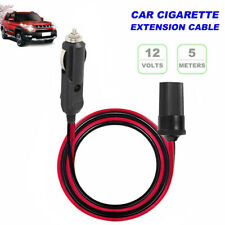 1pc 5m Car Cigarette Lighter Socket Extension Adapter Cable Cord 12V Black Red