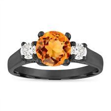 Citrine Engagement Ring Vintage, 1.35 Carat 14K Black Gold Birthstone Certified
