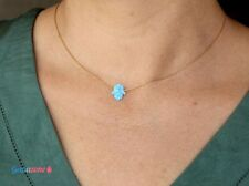 Hamsa Hand of Fatima Blue Lab Opal Charm Pendant Necklace 14K Gold Filled Chain