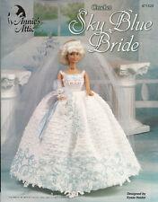 Sky Blue Bride Wedding Dress Crochet Barbie Fashion Doll Clothing Pattern NEW
