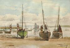 Aquarelle dessin tableau bateaux marée basse paysage breton vue Bretagne marine