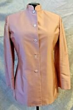 New Holiday RENA ROWAN Pink Silk, Long, Button Up, Lined Blazer / Jacket, Sz 10