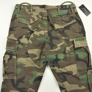 POLO RALPH LAUREN Men Surplus Military Army Camo Utility Cargo Pants Jeans 32x32