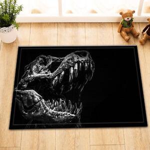 Black Decaying Dinosaur Skull Room Floor Carpet Non-skid Door Bath Mat Area Rugs