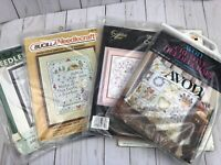 Vintage Lot Of 7 Needle Crafts Kits Embroidery Sampler Cross Stitch