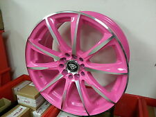 18X8 Inch #1026 Pink Machine White Diamond wheels & Tires 4X100 New Product