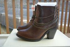 Leather ankle boots w/metal chain accent by Dingo (Escape) distressed brown NWT