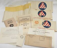 WWII Air Raid Wardens Lot Armbands Handbook ID Card Dimout Regulations Letters