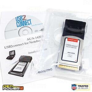 Adaptec AUA-1420 2-Port USB 2.0 CardBus Adapter Laptop Notebook PC Card PCMCIA
