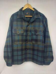 Vintage Pendleton Green Plaid Wool Jacket Mackinaw Size XL
