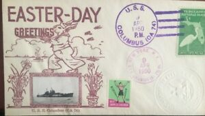 """EASTER DAY GREETING """"CROSBY TYPE"""" NAVAL COVER- US COLUMBUS (CA-74) - APR 9 1950"""