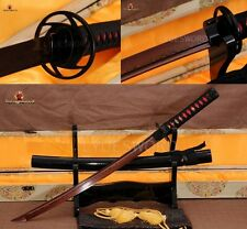 JAPANESE SAMURAI WAKIZASHI SWORD DAMASCUS FOLDED STEEL RED BLADE FULL TANG SHARP
