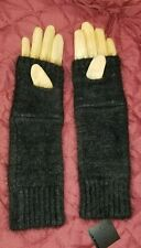 Club Monaco Ladies Tan Leather Abby Angora Gloves Black Noir $98 Nwt Size Small