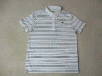 Lacoste Sport Polo Shirt Adult Large White Black Striped Lightweight Crocodile *