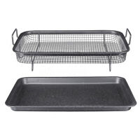 Oven Drip Tray Mesh Basket Grilling Baking Filter Oil Rack Non-Stick Stainless