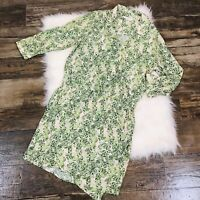 Cabi Green Wrap Dress Size M Medium Cinch Waist 3/4 Sleeves Palm Leaf Print EUC