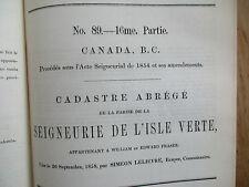 Cadastre abrégé Seigneurie L'Isle Verte #89 Famille Fraser 817 noms 1863