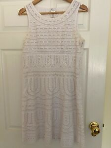 Collette Dinnigan white cotton corded broderie anglaise dress Size M