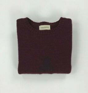 Men's Burgundy Oliver Spencer Jumper Small S Wool Mohair Crewneck Sweater A