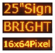 "2Pcs 25""x 6.5"" LED Sign Programmable Scrolling Window Message Display Yellow P10"
