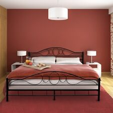 Super King Size Metal Bed Frame Black Iron Headboard Vintage Country Bedstead