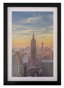 Frame Amo 13x19 Black Picture Frame with White Mat for 11x17, 1 inch border
