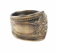 Vintage nickel silver spoon ring size 12.5 adjustable