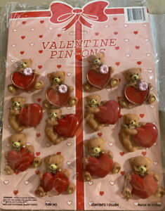 12 VALENTINE'S DAY Red Heart LAPEL PINS Teddy Bear & Heart Pin-Ons + Display